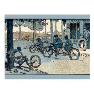 Vintage Bicycling Print Postcard