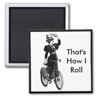 Vintage Bicyclist 2 Inch Square Magnet