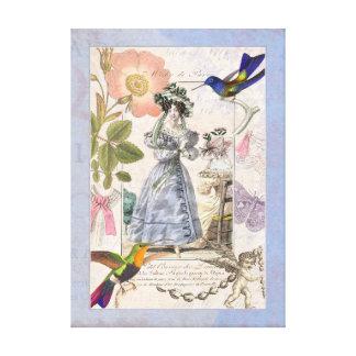 Vintage Biedermeier Fashions Collage Flowers Birds Canvas Print
