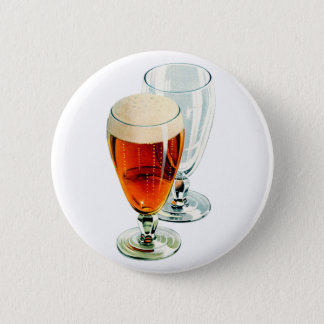 Vintage Bier Frosty Beer Glasses Illustration Button