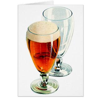 Vintage Bier Frosty Beer Glasses Illustration Card