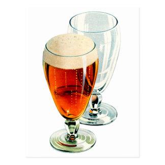 Vintage Bier Frosty Beer Glasses Illustration Postcard