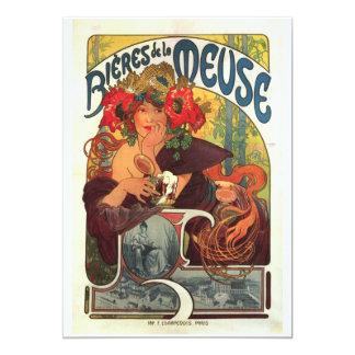 Vintage Bieres de la Meuse by Alphonse Mucha Card