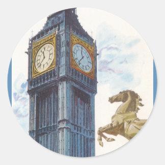 Vintage Big Ben Clock Tower Horse Statue, London Classic Round Sticker
