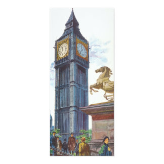 Vintage Big Ben Clock Tower Horse Statue, London 4x9.25 Paper Invitation Card