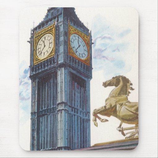 Vintage Big Ben Clock Tower Horse Statue, London Mouse Pad