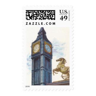 Vintage Big Ben Clock Tower Horse Statue, London Postage