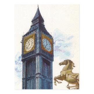 Vintage Big Ben Clock Tower Horse Statue, London Postcard