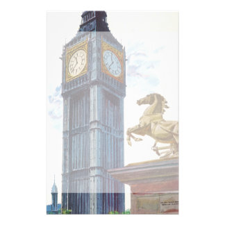 Vintage Big Ben Clock Tower Horse Statue, London Custom Stationery