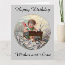 Vintage Big Birthday Angel Child Writing at Desk Card