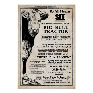 Vintage Big Bull Tractor Print