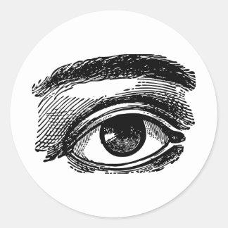 Vintage Big Eye Wood Engraving Classic Round Sticker