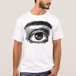 Vintage Big Eye Wood Engraving T-Shirt