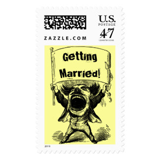 Vintage Big Mouth Man With Getting Married Sign Stamp
