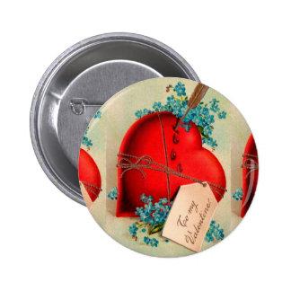 Vintage Big Red Bleeding Heart Valentine Postcard 2 Inch Round Button