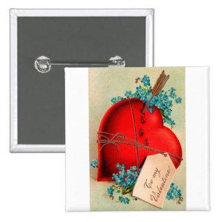 Vintage Big Red Bleeding Heart Valentine Postcard 2 Inch Square Button