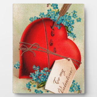 Vintage Big Red Bleeding Heart Valentine Postcard Plaque
