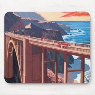 Vintage Big Sur Bixby Bridge USA Tourism Mouse Pad