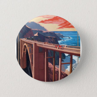 Vintage Big Sur Bixby Bridge USA Tourism Pinback Button