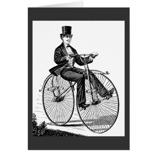 Vintage Big Wheel Bicycle Victorian Cycling Card