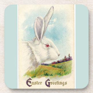 Vintage Big White Easter Rabbit Light Blue Beverage Coaster