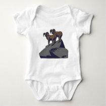 Vintage Bighorn Sheep Wildlife Poster Baby Bodysuit