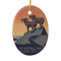 Vintage Bighorn Sheep Wildlife Poster Ceramic Ornament