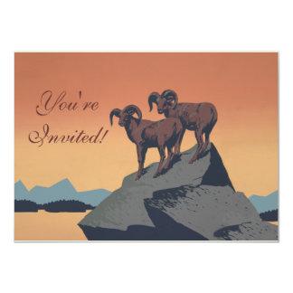 Vintage Bighorn Sheep Wildlife Poster 4.5x6.25 Paper Invitation Card