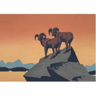 Vintage Bighorn Sheep Wildlife Poster Photo Cutout