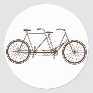 Vintage Bike for Two Classic Round Sticker
