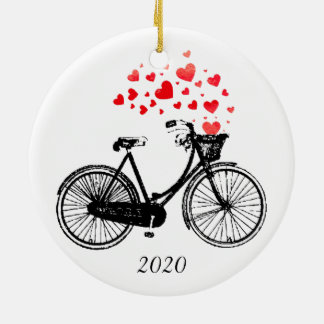 Vintage Bike Love Biking Hearts Fun Custom Year Ceramic Ornament