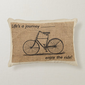 Vintage Bike Motivational Decorative Pillow