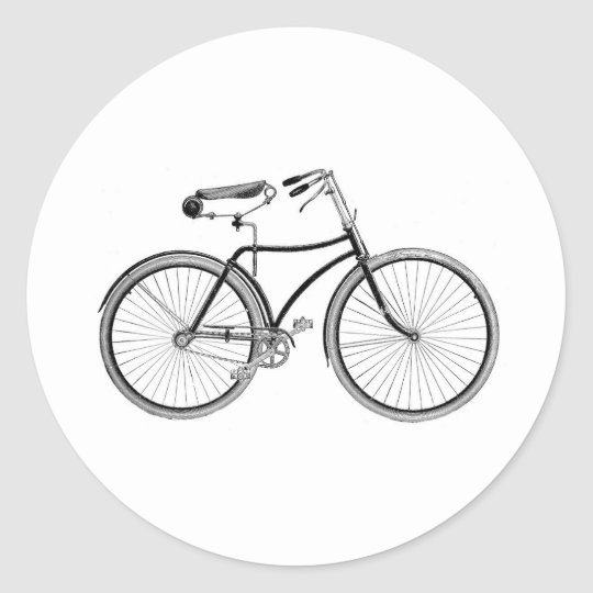 Vintage Bike Old Fashioned Bicycle Cycling Classic Round Sticker