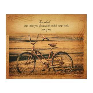 Vintage Bike Photo with Saying Wood Canvas