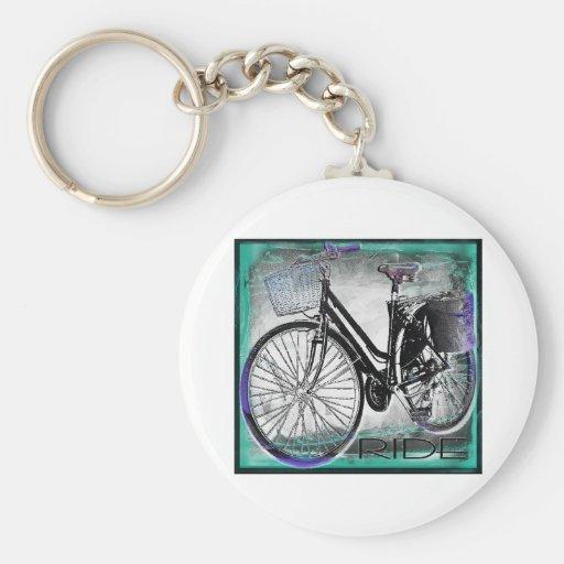 Vintage Bike Ride Teal Keychain