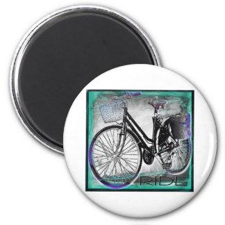 Vintage Bike Ride Teal 2 Inch Round Magnet
