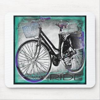 Vintage Bike Ride Teal Mouse Pad