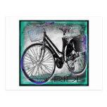 Vintage Bike Ride Teal Postcard