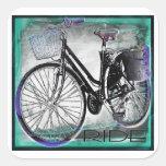 Vintage Bike Ride Teal Sticker