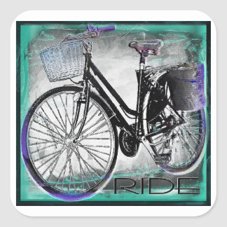 Vintage Bike Ride Teal Sticker