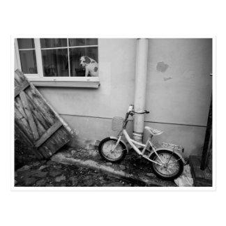 Vintage bike street scene black/white postcard