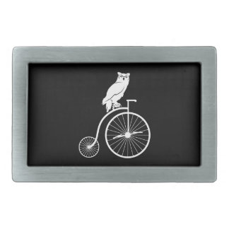 Vintage Bike with Owl Rider Rectangular Belt Buckle