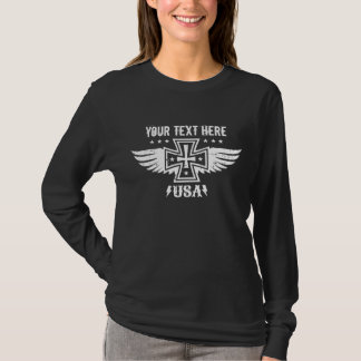 Vintage Biker Chick Iron Cross and Wings T-Shirt