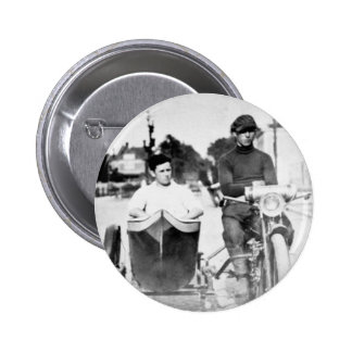 Vintage Biker Outlaw Motorcycle and Sidecar Button
