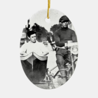 Vintage Biker Outlaw Motorcycle and Sidecar Ceramic Ornament