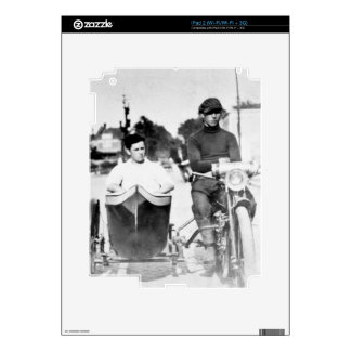 Vintage Biker Outlaw Motorcycle and Sidecar Decal For iPad 2