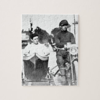 Vintage Biker Outlaw Motorcycle and Sidecar Jigsaw Puzzle