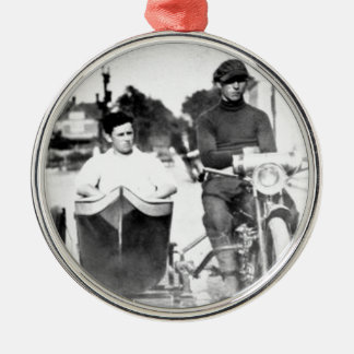 Vintage Biker Outlaw Motorcycle and Sidecar Metal Ornament