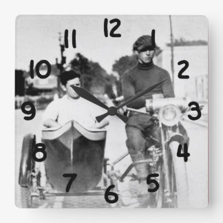Vintage Biker Outlaw Motorcycle and Sidecar Square Wall Clock