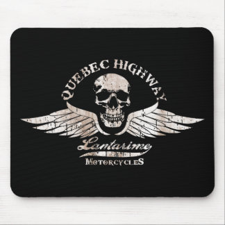 Vintage Biker Skull with Wings Motorcycle Mouse Pad